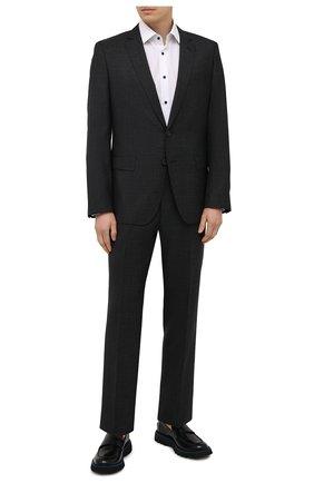 Мужской шерстяной костюм BOSS черного цвета, арт. 50453690 | Фото 1 (Материал внешний: Шерсть; Костюмы М: Однобортный; Рукава: Длинные; Стили: Классический)