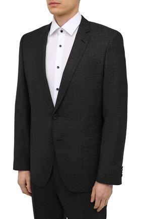 Мужской шерстяной костюм BOSS черного цвета, арт. 50453690 | Фото 2 (Материал внешний: Шерсть; Костюмы М: Однобортный; Рукава: Длинные; Стили: Классический)