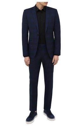 Мужской шерстяной костюм BOSS синего цвета, арт. 50453659 | Фото 1 (Рукава: Длинные; Материал внешний: Шерсть; Костюмы М: Однобортный; Стили: Классический)