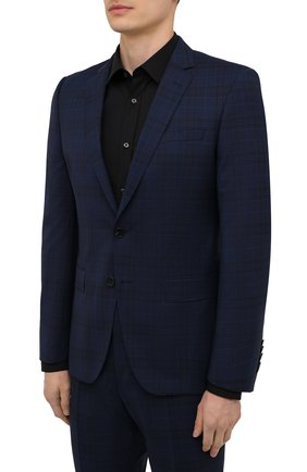 Мужской шерстяной костюм BOSS синего цвета, арт. 50453659 | Фото 2 (Рукава: Длинные; Материал внешний: Шерсть; Костюмы М: Однобортный; Стили: Классический)
