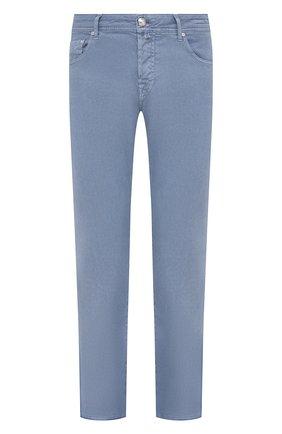 Мужские брюки изо льна и хлопка JACOB COHEN голубого цвета, арт. J620 C0MF 02342-V/55   Фото 1