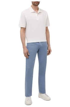 Мужские брюки изо льна и хлопка JACOB COHEN голубого цвета, арт. J620 C0MF 02342-V/55   Фото 2