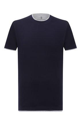 Мужская хлопковая футболка BRUNELLO CUCINELLI темно-синего цвета, арт. M0T617427 | Фото 1 (Рукава: Короткие; Стили: Кэжуэл; Принт: Без принта; Длина (для топов): Стандартные; Материал внешний: Хлопок)