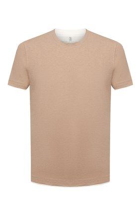 Мужская хлопковая футболка BRUNELLO CUCINELLI бежевого цвета, арт. M0T617427 | Фото 1