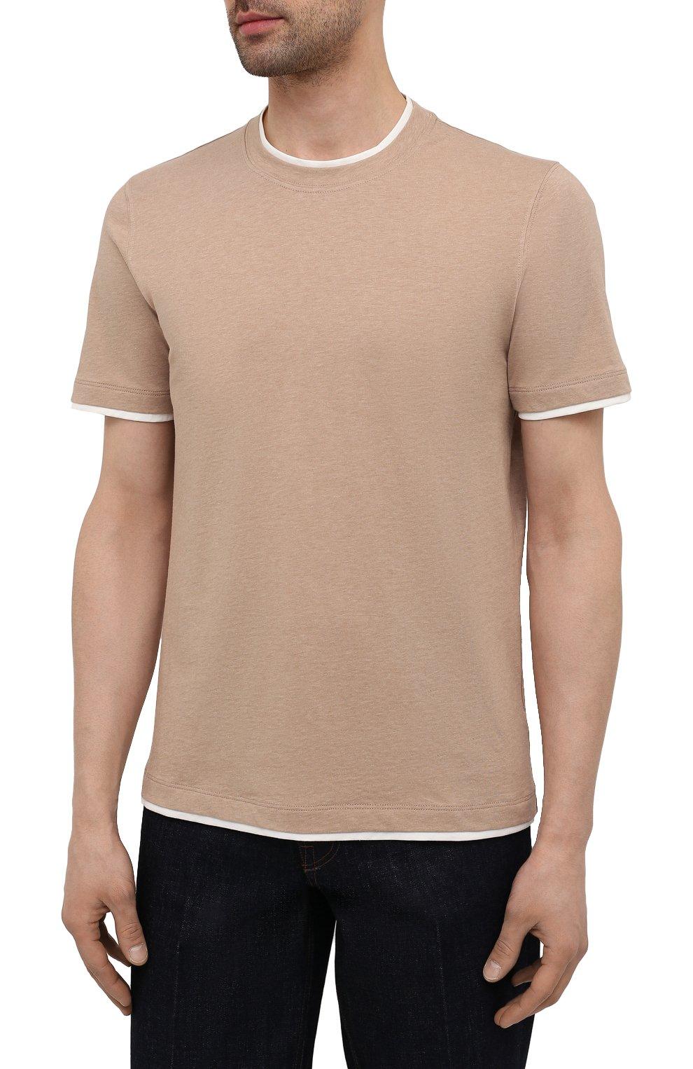 Мужская хлопковая футболка BRUNELLO CUCINELLI бежевого цвета, арт. M0T617427 | Фото 3