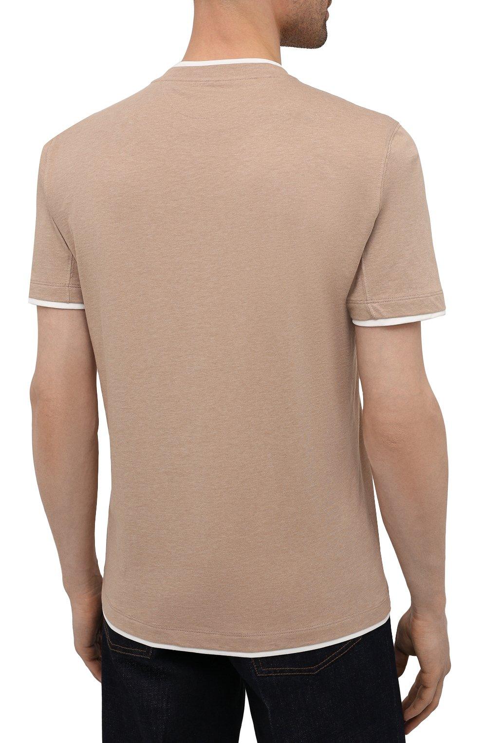 Мужская хлопковая футболка BRUNELLO CUCINELLI бежевого цвета, арт. M0T617427 | Фото 4