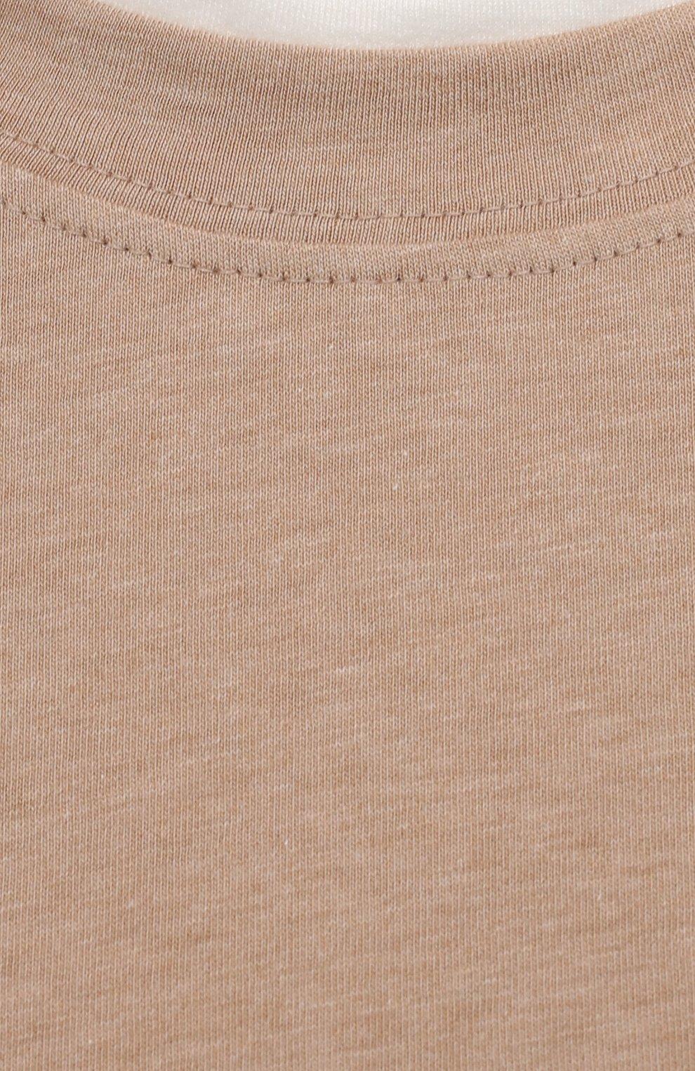 Мужская хлопковая футболка BRUNELLO CUCINELLI бежевого цвета, арт. M0T617427 | Фото 5