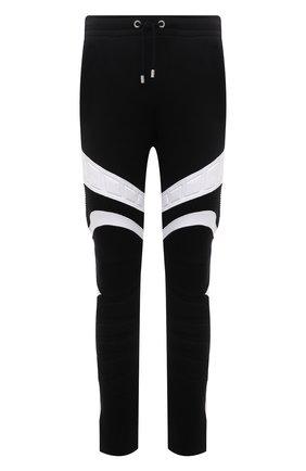 Мужские хлопковые брюки BALMAIN черного цвета, арт. VH00B040/B096   Фото 1