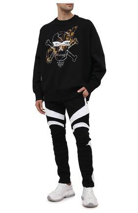 Мужские хлопковые брюки BALMAIN черного цвета, арт. VH00B040/B096   Фото 2