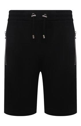 Мужские хлопковые шорты BALMAIN черного цвета, арт. VH00A000/B072   Фото 1 (Длина Шорты М: До колена; Принт: Без принта; Материал внешний: Хлопок; Кросс-КТ: Трикотаж)