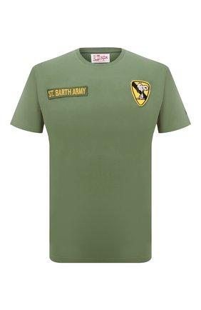 Мужская хлопковая футболка MC2 SAINT BARTH хаки цвета, арт. STBM JACK/JACK001 | Фото 1 (Материал внешний: Хлопок; Длина (для топов): Стандартные; Рукава: Короткие; Стили: Гранж; Принт: С принтом)