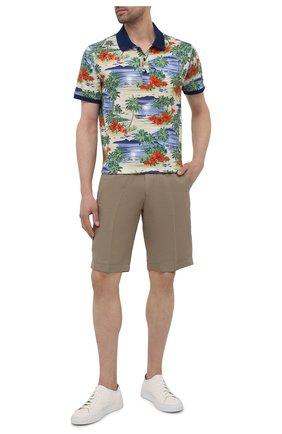 Мужские шорты из хлопка и льна PAUL&SHARK бежевого цвета, арт. 21414041/FJD | Фото 2