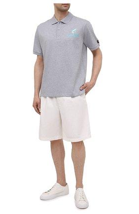 Мужское хлопковое поло PAUL&SHARK серого цвета, арт. 21411237/C00   Фото 2