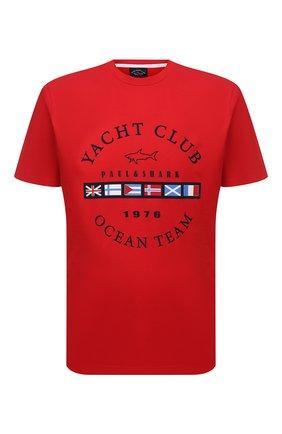 Мужская хлопковая футболка PAUL&SHARK красного цвета, арт. 21411096/C00 | Фото 1