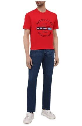Мужская хлопковая футболка PAUL&SHARK красного цвета, арт. 21411096/C00 | Фото 2