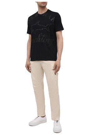 Мужская хлопковая футболка PAUL&SHARK черного цвета, арт. 21411069/C00 | Фото 2