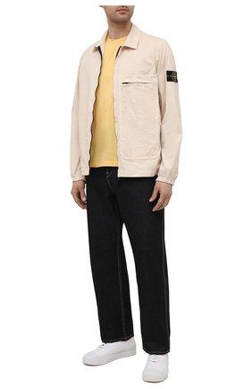 Мужская хлопковая футболка PAUL&SHARK желтого цвета, арт. 21411055/C00   Фото 2 (Материал внешний: Хлопок; Рукава: Короткие; Длина (для топов): Стандартные; Принт: Без принта; Стили: Кэжуэл)