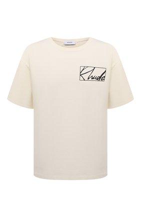 Мужская хлопковая футболка RHUDE кремвого цвета, арт. RHPS21TT00000017 | Фото 1