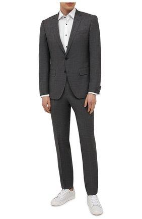 Мужской шерстяной костюм BOSS серого цвета, арт. 50453670 | Фото 1