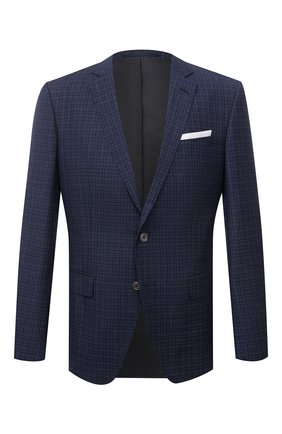 Мужской шерстяной пиджак BOSS темно-синего цвета, арт. 50453693 | Фото 1 (Рукава: Длинные; Длина (для топов): Стандартные; Случай: Коктейльный; 1-2-бортные: Однобортные; Стили: Классический; Материал внешний: Шерсть; Пиджаки М: Прямой)