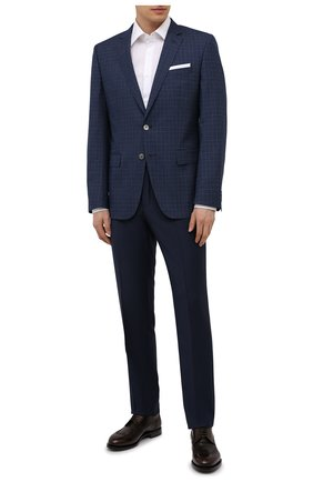 Мужской шерстяной пиджак BOSS темно-синего цвета, арт. 50453693 | Фото 2 (Рукава: Длинные; Длина (для топов): Стандартные; Случай: Коктейльный; 1-2-бортные: Однобортные; Стили: Классический; Материал внешний: Шерсть; Пиджаки М: Прямой)