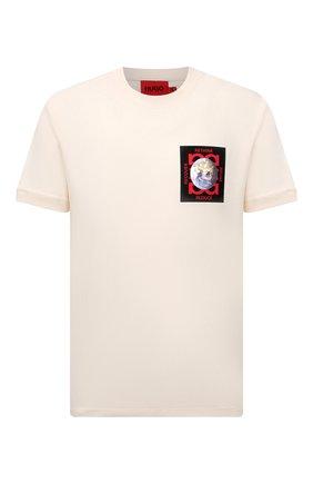 Мужская хлопковая футболка HUGO кремвого цвета, арт. 50453745 | Фото 1