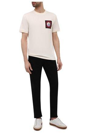 Мужская хлопковая футболка HUGO кремвого цвета, арт. 50453745 | Фото 2