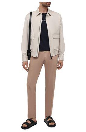 Мужские кожаные шлепанцы BOSS темно-синего цвета, арт. 50455269 | Фото 2