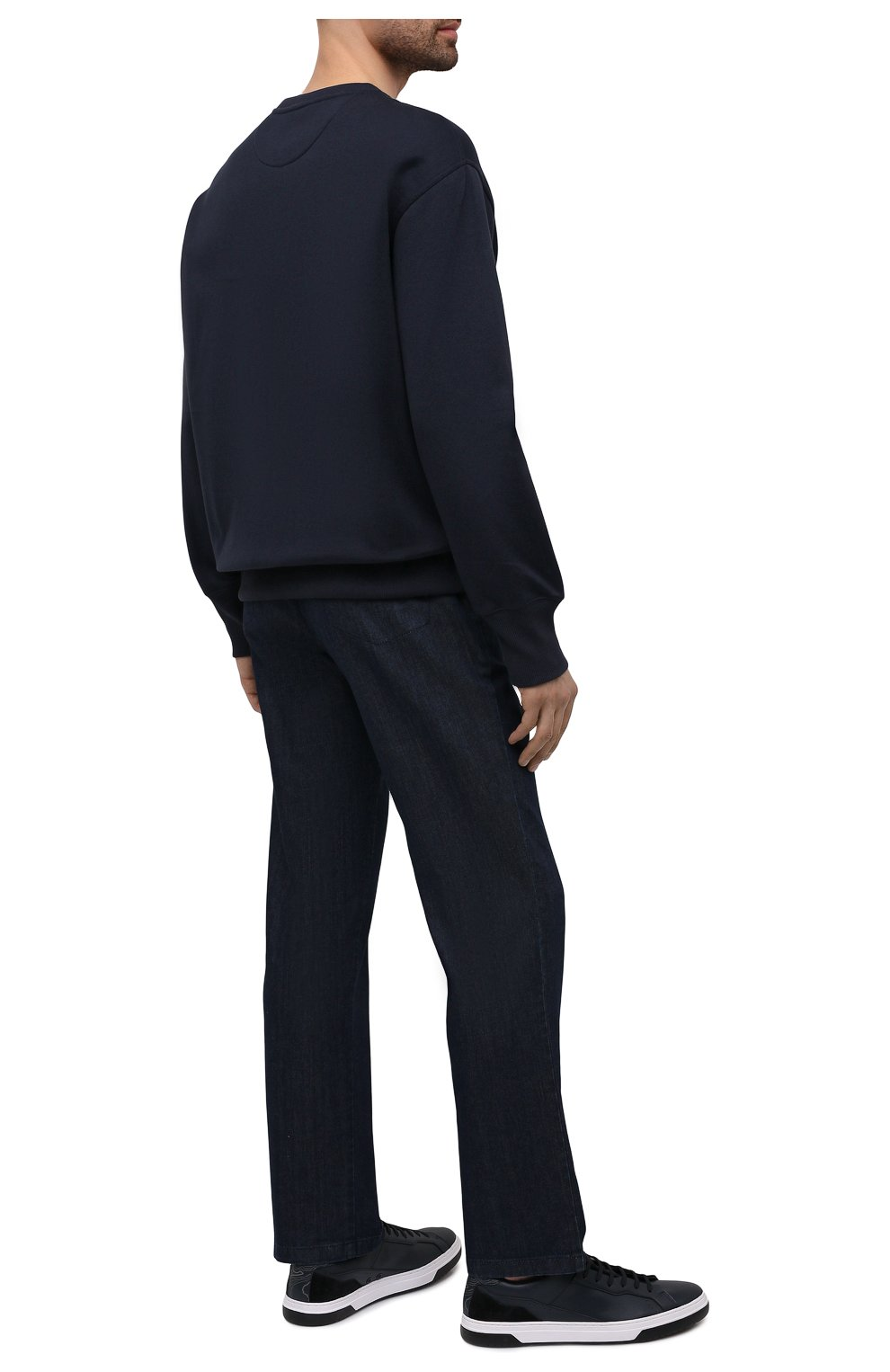 Мужские кеды HUGO темно-синего цвета, арт. 50454951   Фото 2 (Материал внешний: Экокожа; Подошва: Плоская)