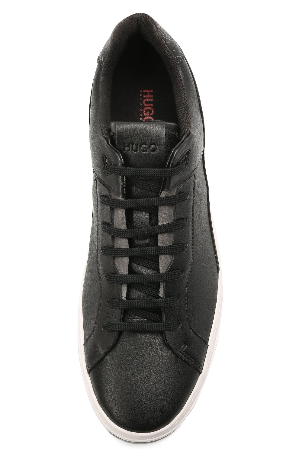 Мужские кеды HUGO черного цвета, арт. 50454951   Фото 5 (Материал внешний: Экокожа; Подошва: Плоская)