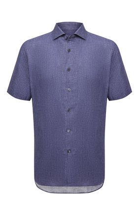 Мужская льняная рубашка CORNELIANI темно-синего цвета, арт. 87I126-1111912/00   Фото 1