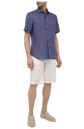 Мужская льняная рубашка CORNELIANI темно-синего цвета, арт. 87I126-1111912/00   Фото 2