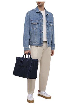 Мужская текстильная сумка-тоут DOLCE & GABBANA темно-синего цвета, арт. BM6572/A0307 | Фото 2