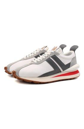 Мужские комбинированные кроссовки LANVIN белого цвета, арт. FM-SKBRUB-NYL0-E21 | Фото 1 (Материал внутренний: Текстиль, Натуральная кожа; Материал внешний: Текстиль; Подошва: Массивная; Стили: Гранж)