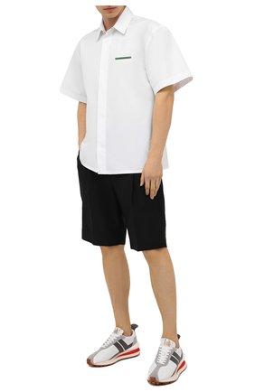Мужские комбинированные кроссовки LANVIN белого цвета, арт. FM-SKBRUB-NYL0-E21 | Фото 2 (Материал внутренний: Текстиль, Натуральная кожа; Материал внешний: Текстиль; Подошва: Массивная; Стили: Гранж)