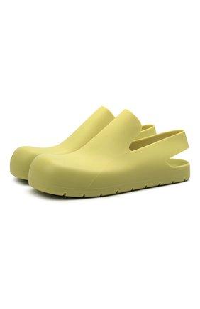 Мужские резиновые сандалии puddle BOTTEGA VENETA желтого цвета, арт. 658767/V00P0 | Фото 1 (Материал внешний: Резина)