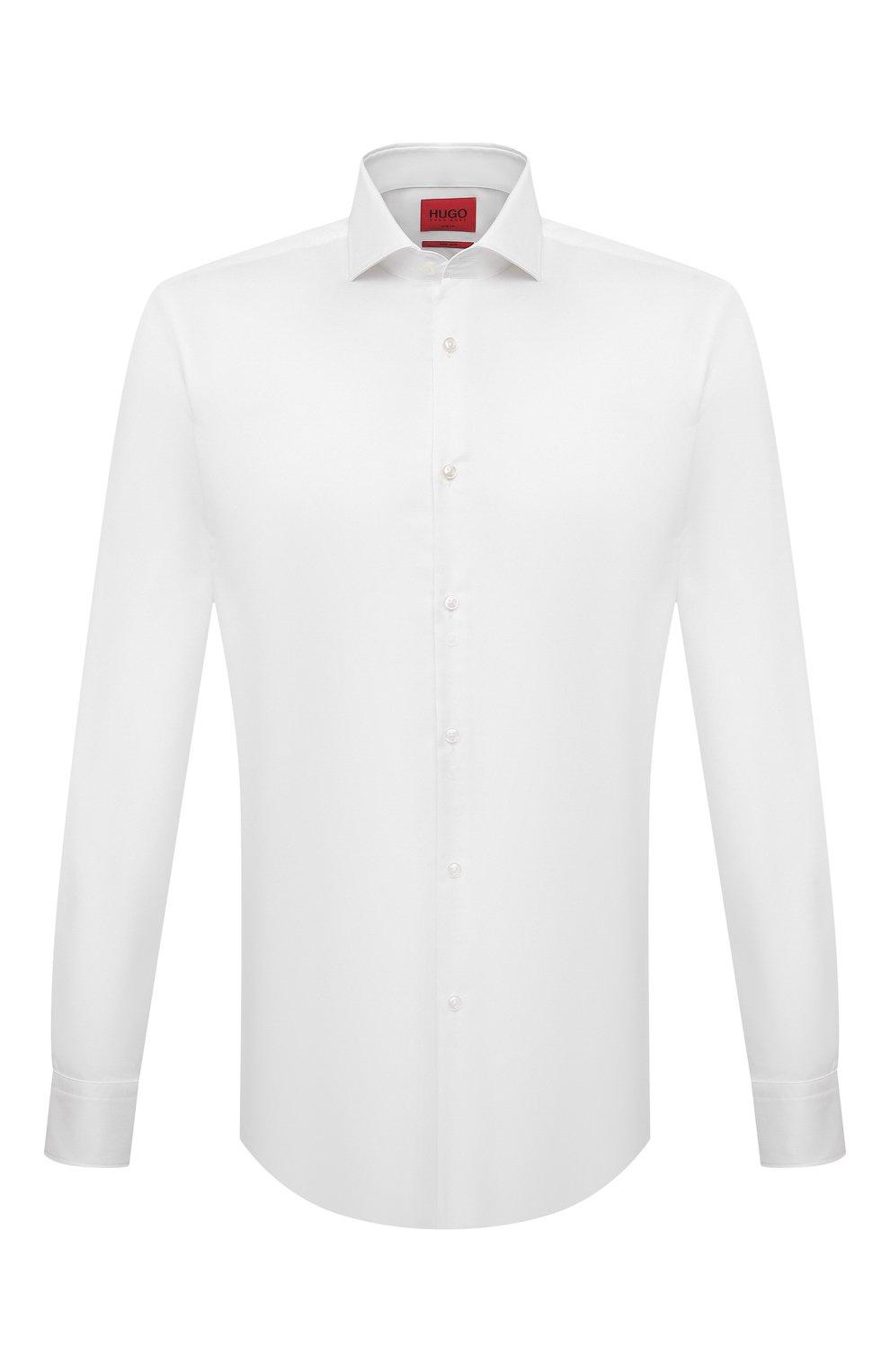 Мужская хлопковая сорочка HUGO белого цвета, арт. 50289491 | Фото 1 (Манжеты: На пуговицах; Рукава: Длинные; Воротник: Акула; Длина (для топов): Стандартные; Рубашки М: Slim Fit; Материал внешний: Хлопок; Стили: Классический; Случай: Формальный; Принт: Однотонные)