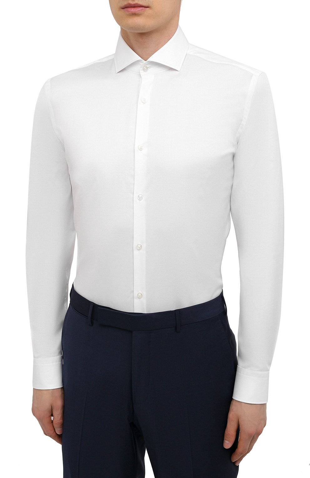 Мужская хлопковая сорочка HUGO белого цвета, арт. 50289491 | Фото 3 (Манжеты: На пуговицах; Рукава: Длинные; Воротник: Акула; Длина (для топов): Стандартные; Рубашки М: Slim Fit; Материал внешний: Хлопок; Стили: Классический; Случай: Формальный; Принт: Однотонные)