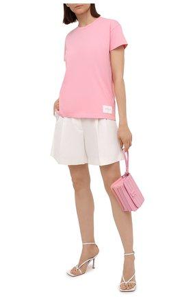 Женская хлопковая футболка BOSS розового цвета, арт. 50454553 | Фото 2
