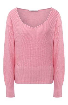 Женский свитер из хлопка и шелка BOSS розового цвета, арт. 50453067 | Фото 1