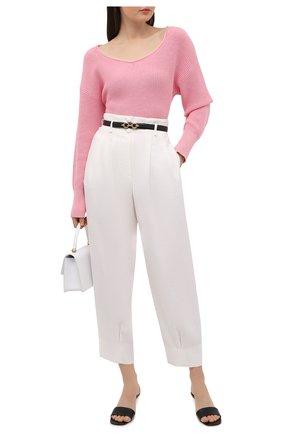 Женский свитер из хлопка и шелка BOSS розового цвета, арт. 50453067 | Фото 2