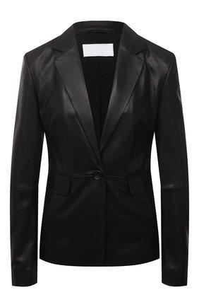 Женский кожаный жакет BOSS черного цвета, арт. 50453767 | Фото 1 (Длина (для топов): Стандартные; Стили: Гламурный; Рукава: Длинные; 1-2-бортные: Однобортные; Случай: Коктейльный; Женское Кросс-КТ: Жакет-одежда)