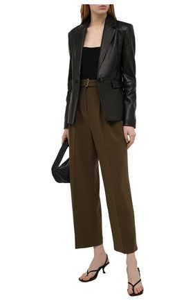 Женский кожаный жакет BOSS черного цвета, арт. 50453767 | Фото 2 (Длина (для топов): Стандартные; Стили: Гламурный; Рукава: Длинные; 1-2-бортные: Однобортные; Случай: Коктейльный; Женское Кросс-КТ: Жакет-одежда)