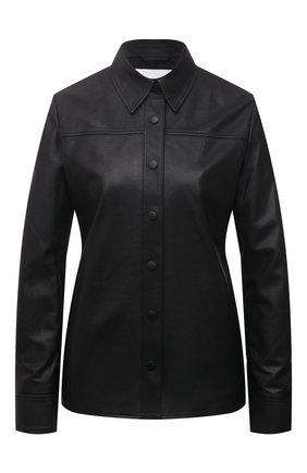 Женская кожаная рубашка BOSS черного цвета, арт. 50455964 | Фото 1