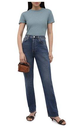 Женская хлопковая футболка VINCE тёмно-голубого цвета, арт. V735583648 | Фото 2