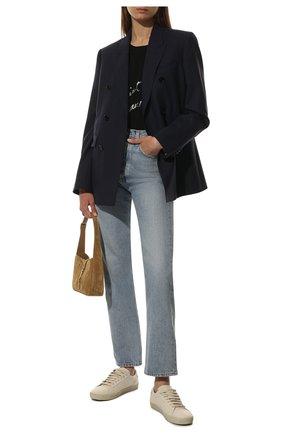 Женская хлопковая футболка с логотипом бренда SAINT LAURENT черного цвета, арт. 480335/YB2IS | Фото 2