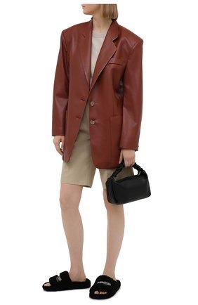 Женские текстильные шлепанцы furry BALENCIAGA черного цвета, арт. 654261/W2D01 | Фото 2