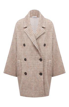 Женское пальто BRUNELLO CUCINELLI бежевого цвета, арт. M2I182506P | Фото 1 (Рукава: Длинные; Материал внешний: Шерсть; Стили: Кэжуэл)