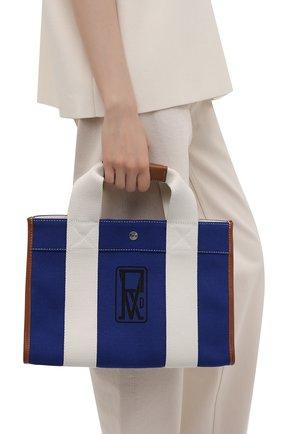 Женский сумка-тоут RUE DE VERNEUIL синего цвета, арт. TRAVELLER M L0G0 PRINT CANVAS | Фото 2