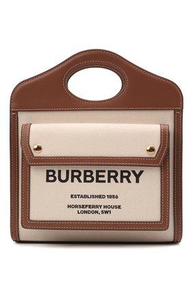 Женская сумка pocket bag mini BURBERRY бежевого цвета, арт. 8039361 | Фото 1 (Сумки-технические: Сумки через плечо, Сумки top-handle; Размер: mini; Ремень/цепочка: На ремешке)